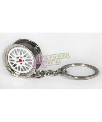 "Porte clé métal ""BBS LM blanc"""